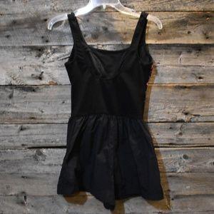 Vintage Swim - VTG 80s Black Neon Stripe Swimsuit w/ Shorts 10